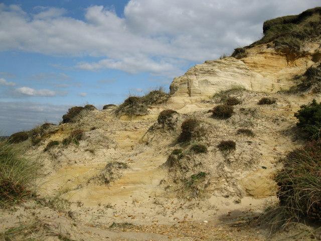 Exposed sandstone ridge