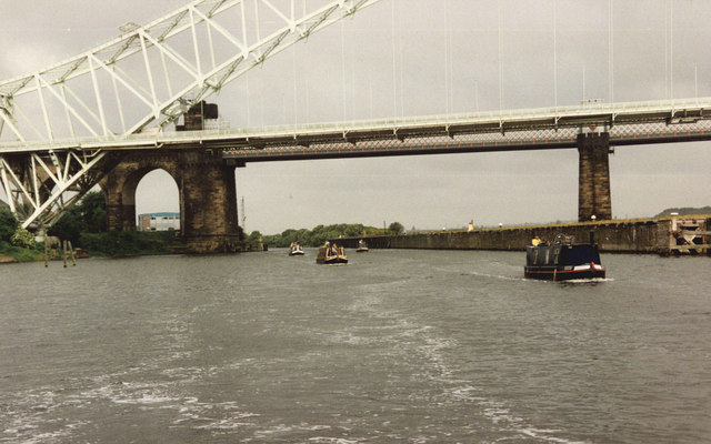 The Widnes - Runcorn Bridges from the Manchester Ship Canal