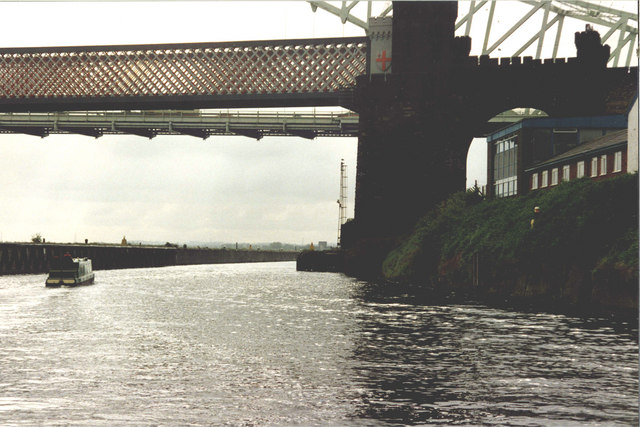 Approaching the Widnes - Runcorn Bridges on the Manchester Ship Canal