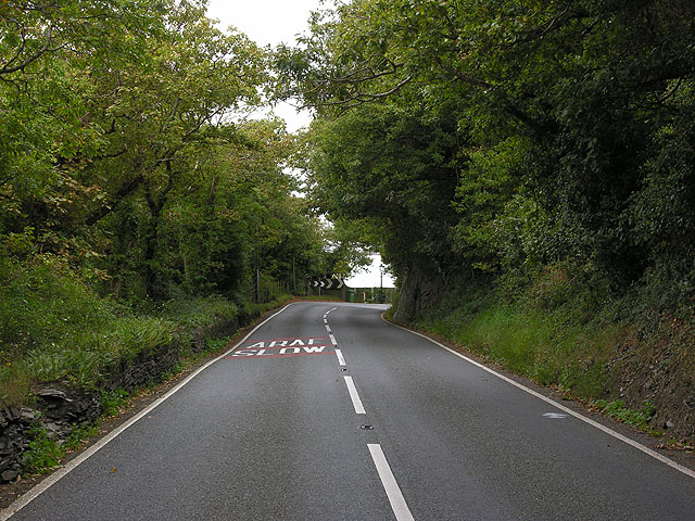 The A483 east of Abertafol