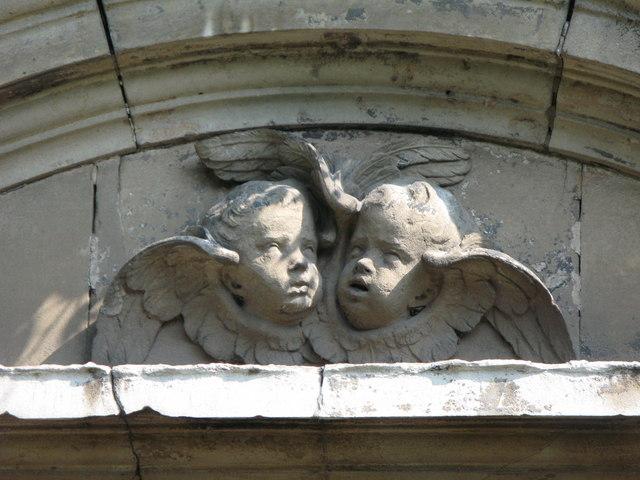 St. Nicholas' Church, Deptford Green, SE8 - pretty putti on the porch