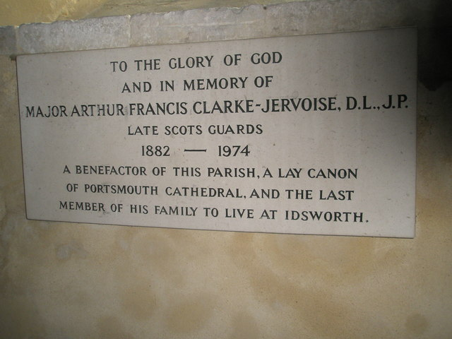 Clarke-Jervoise memorial on the south wall of St Michael, Chalton (1)