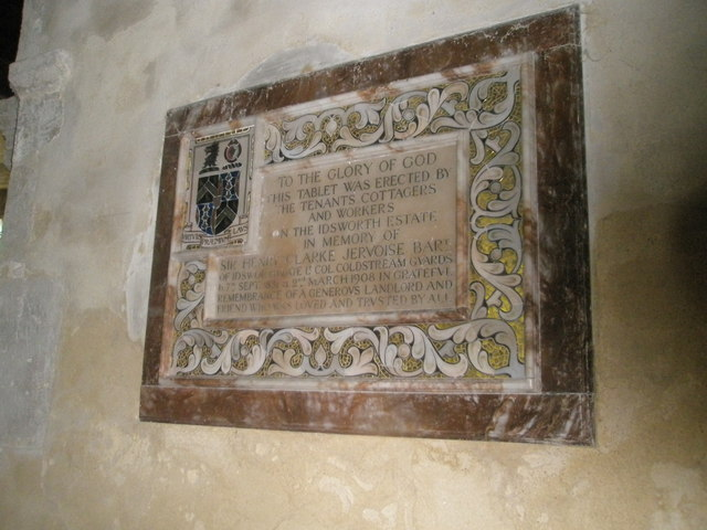 Clarke-Jervoise memorial on the south wall of St Michael, Chalton (2)
