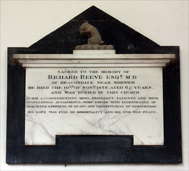 St Mary, Thwaite St Mary, Norfolk - Wall monument