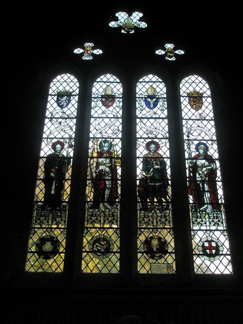 Stained glass window above the altar at St Michael, Chalton