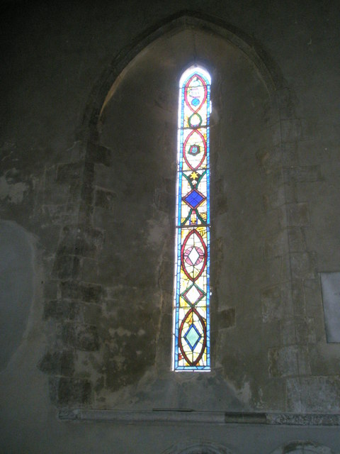 Stained glass window on the north wall at St Michael, Chalton (1)