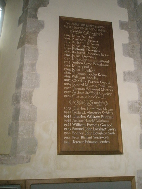 The incumbency boards at All Saints, East Meon