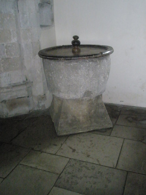 More modest font within All Saints, East Meon