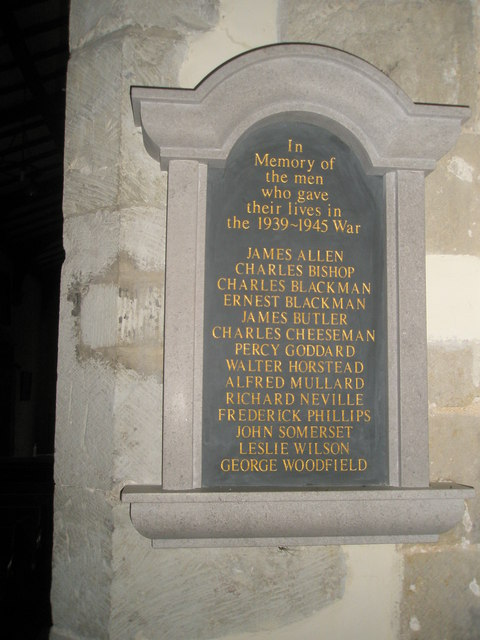 1939-1945 memorial within All Saints, East Meon