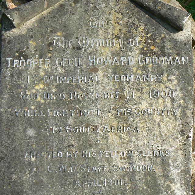 Inscription on memorial to Trooper Goodman, Radnor Street cemetery, Swindon
