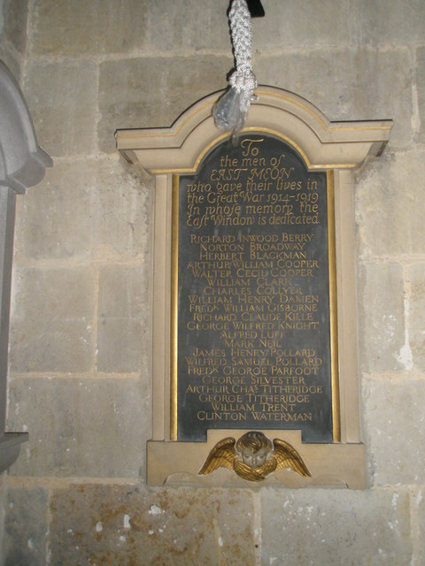 1914-1919 memorial within All Saints, East Meon
