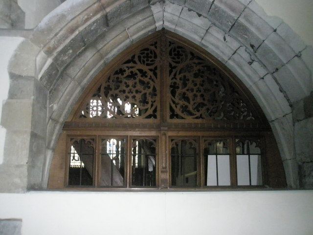 Intricate woodwork within All Saints, East Meon