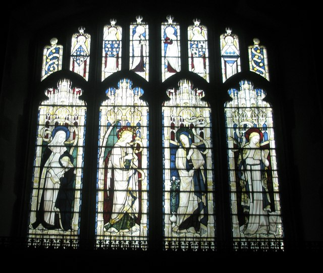 Stained glass window above the side altar at All Saints, East Meon