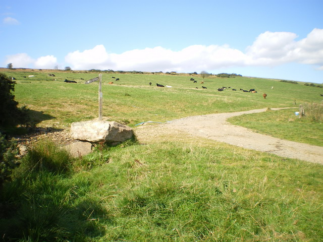 Bridleway junction above The Hollies farm