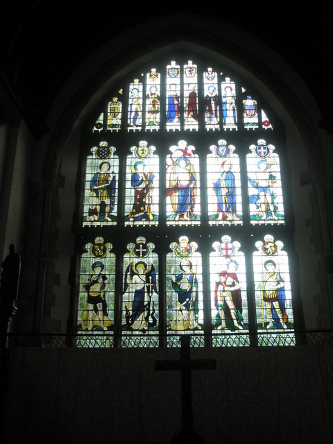 Stained glass window above the altar at All Saints, East Meon