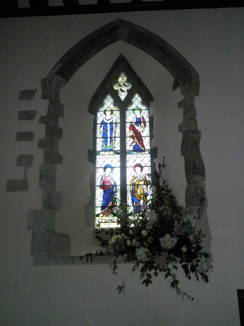 Stained glass window on the north wall at All Saints, East Meon