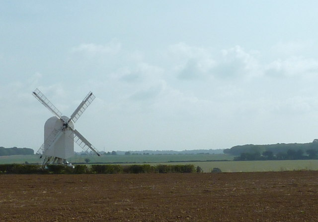 Looking across the fields to Chillenden windmill
