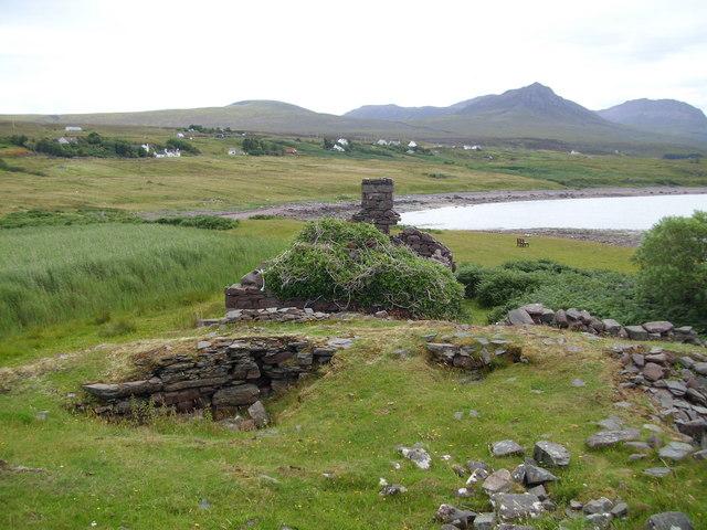Broch and ruined cottage, Achlochan