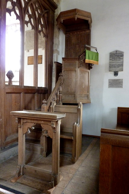 The Jacobean pulpit of All Saints church, Chillenden