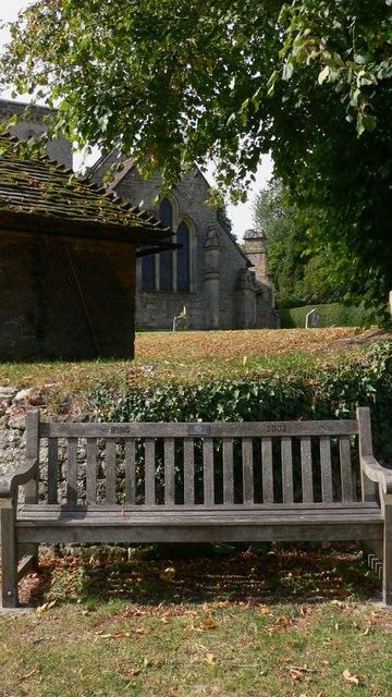 Commemorative seat near Iping church