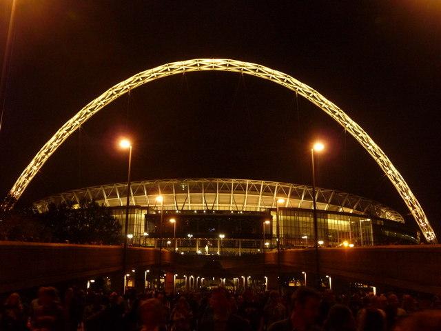 Wembley: the stadium floodlit