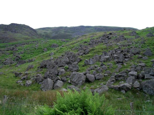 Glen Clova, slope of boulders