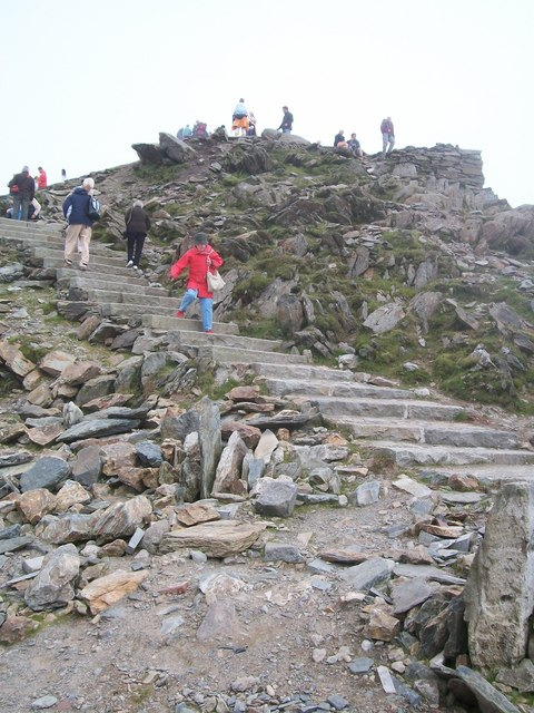Descending the steps from the summit to Hafod Eryri