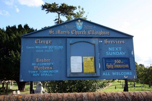 St Mary, Ellingham, Norfolk - Notice board
