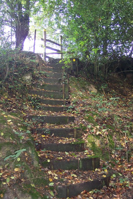 Steps on footpath to Swattenden Lane