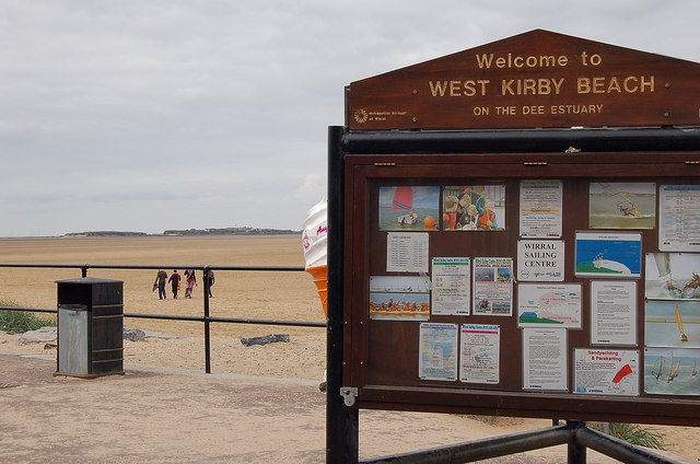 Information board and Hilbre Island