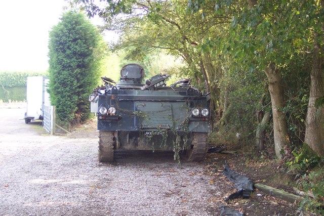 Tank on footpath