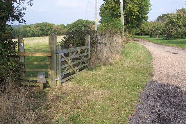 Footpath junction near Mount Ephraim, Cranbrook