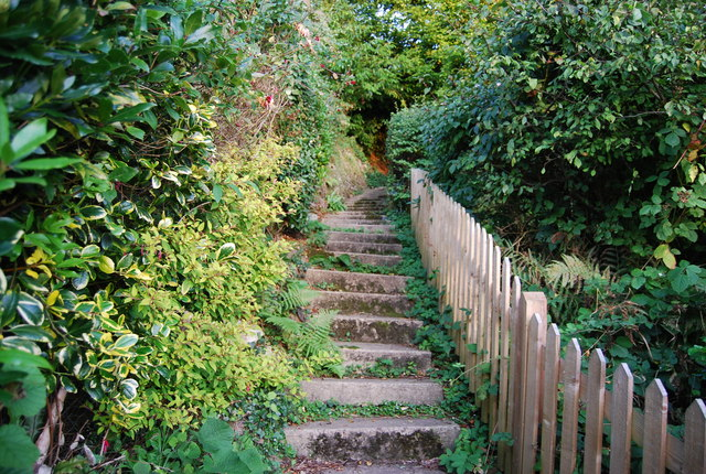 Steps on the footpath to Crockham Hill