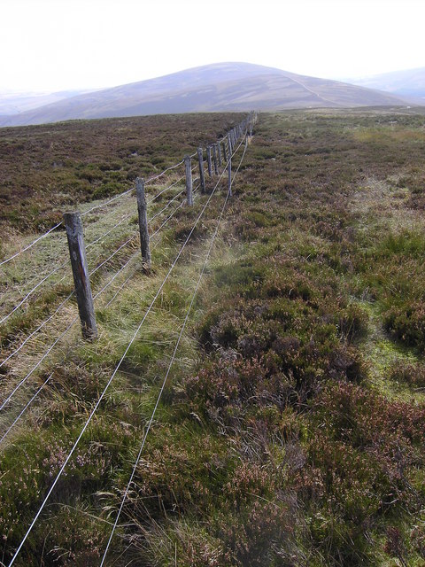 An old fence and more recent electric one on the Hill of Garbet