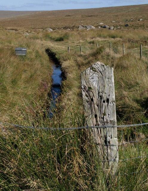 Wooden post above Devonport Leat