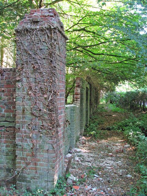 A brick wall enclosure