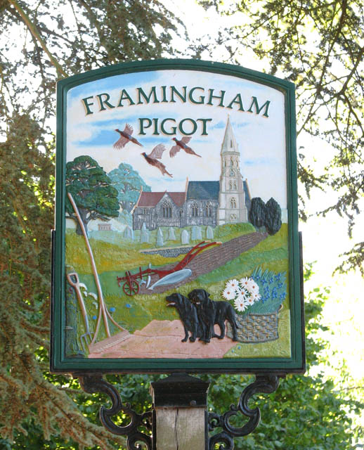 Framingham Pigot - village sign