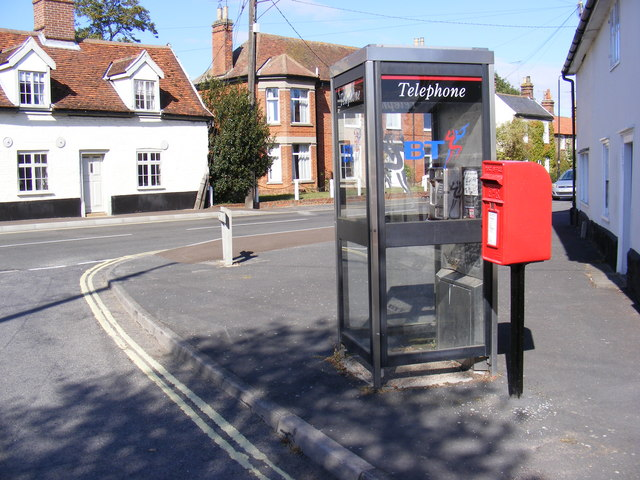 Spring Lane Postbox & Lower Street, Wickham Market