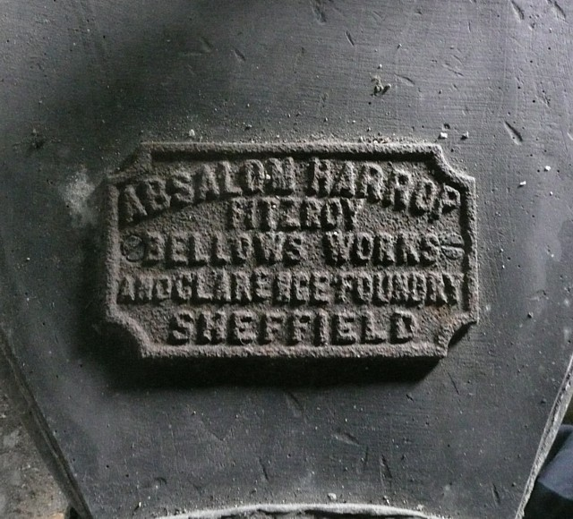 Label on the bellows, the Nail Forge, Hoylandswaine