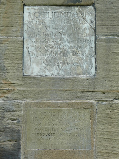 Plaques on the Sun Monument, Wentworth Castle grounds, Stainborough