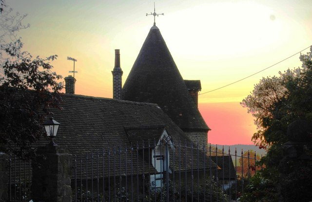 Sunset behind Crockham Hill Farm