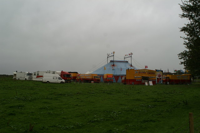 Circus in field beside the A6 at Blackrod