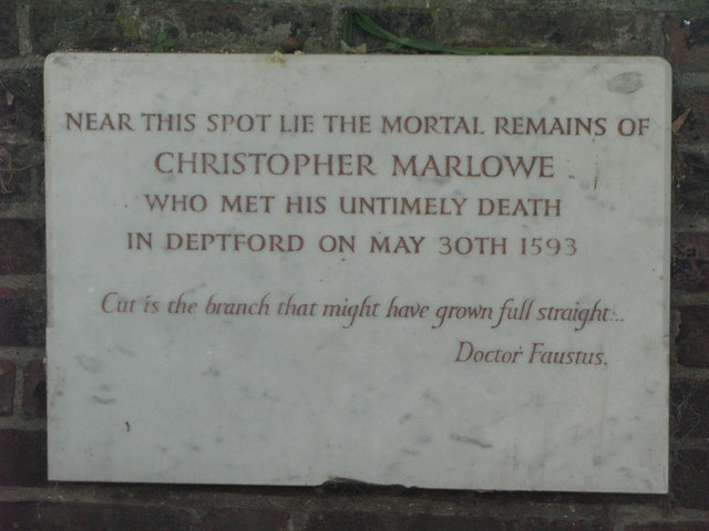 St. Nicholas' Church, Deptford Green, SE8 - plaque re the last resting place of Christopher Marlowe