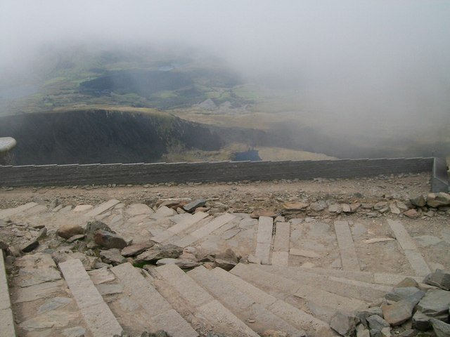 Steps leading down from the summit of Snowdon