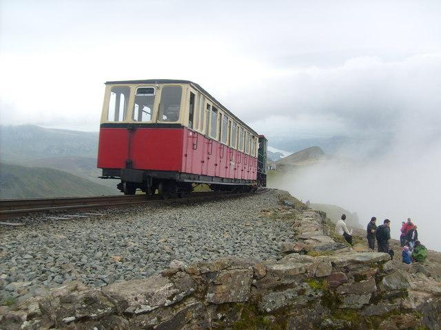 Train heading for the summit. Snowdon