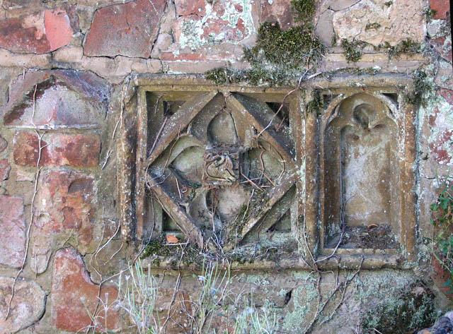 Decorative bricks in wall