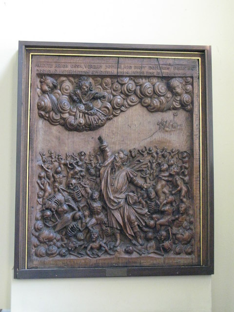 St. Nicholas' Church, Deptford Green, SE8 - carved panel representing Ezekiel in the Valley of the Dry Bones