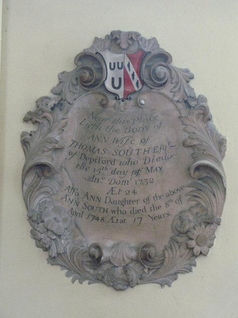 St. Nicholas' Church, Deptford Green, SE8 - memorial to Thomas South, 1732