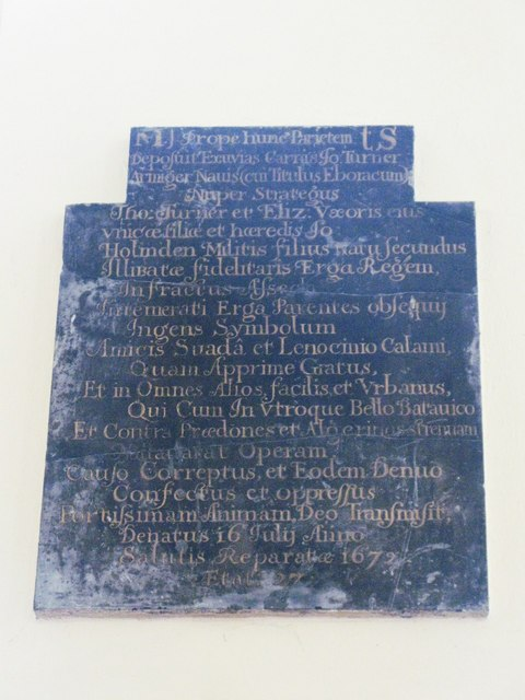 St. Nicholas' Church, Deptford Green, SE8 - memorial slab, 1672