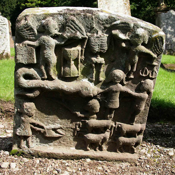 A symbolic gravestone in Colmonell Parish Churchyard